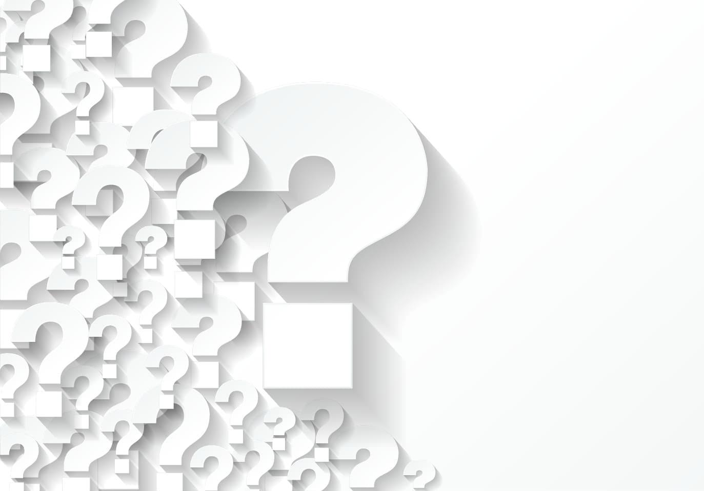 Plusieurs points d'interrogation blancs