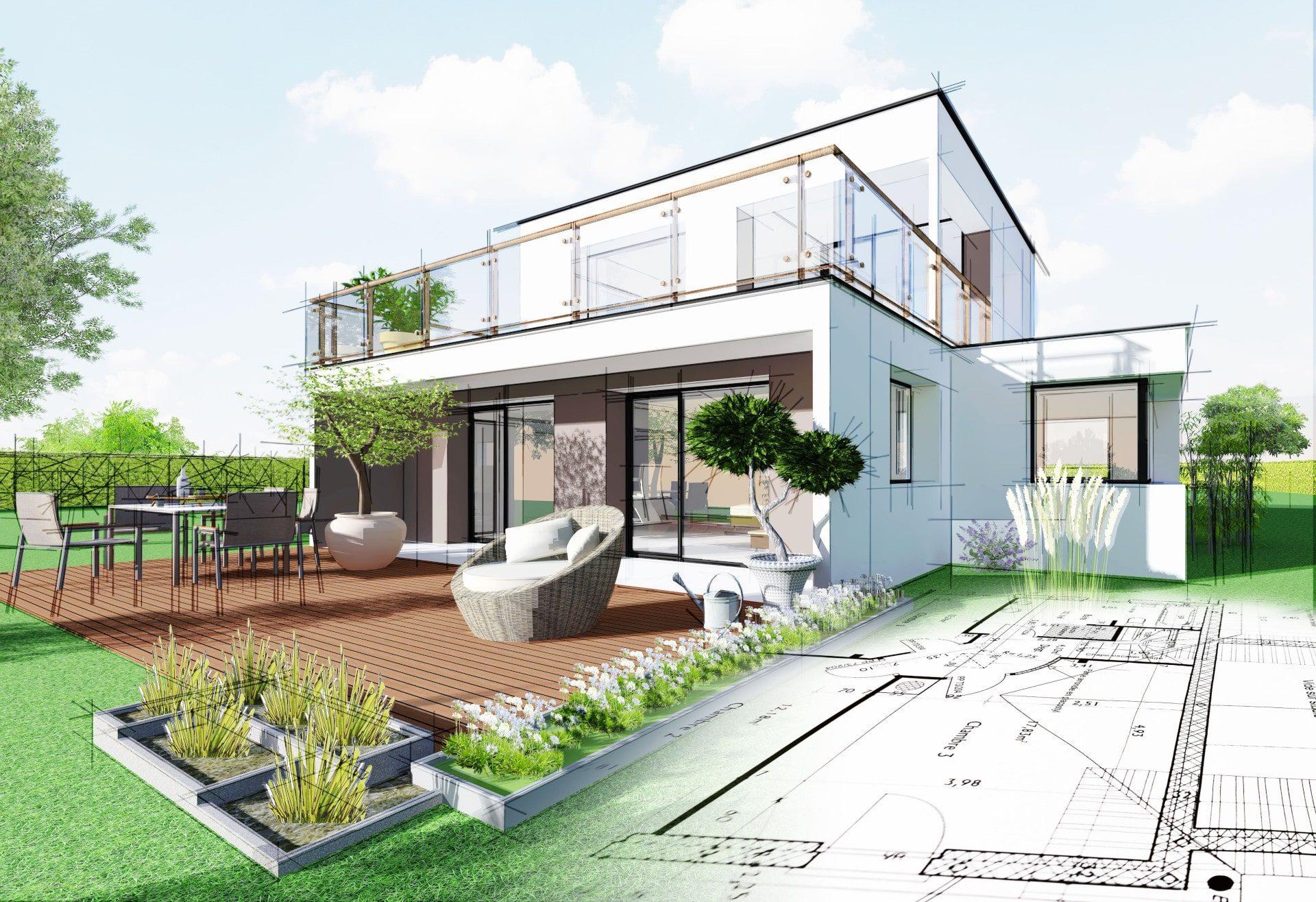 Plan d'une maison à étage contemporaine avec une terrasse en bois