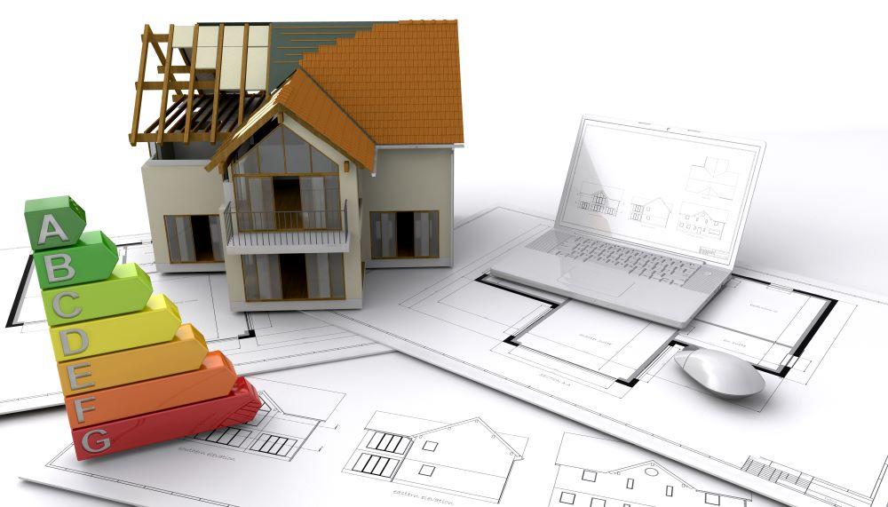 Plan de maison individuelle avec ordinateur