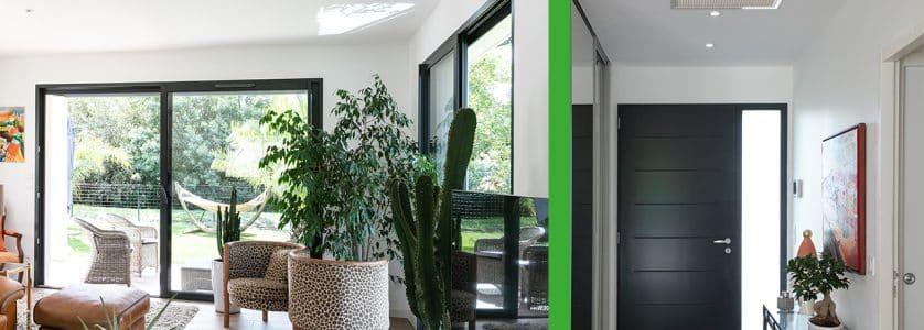 Chauffage gainable dans salon maison moderne Landes