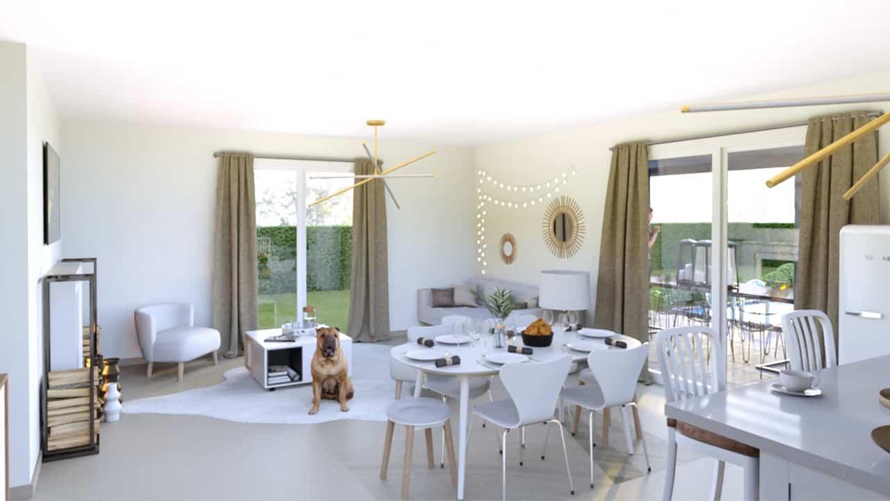 Salon lumineux avec deux baies vitrées et un chien