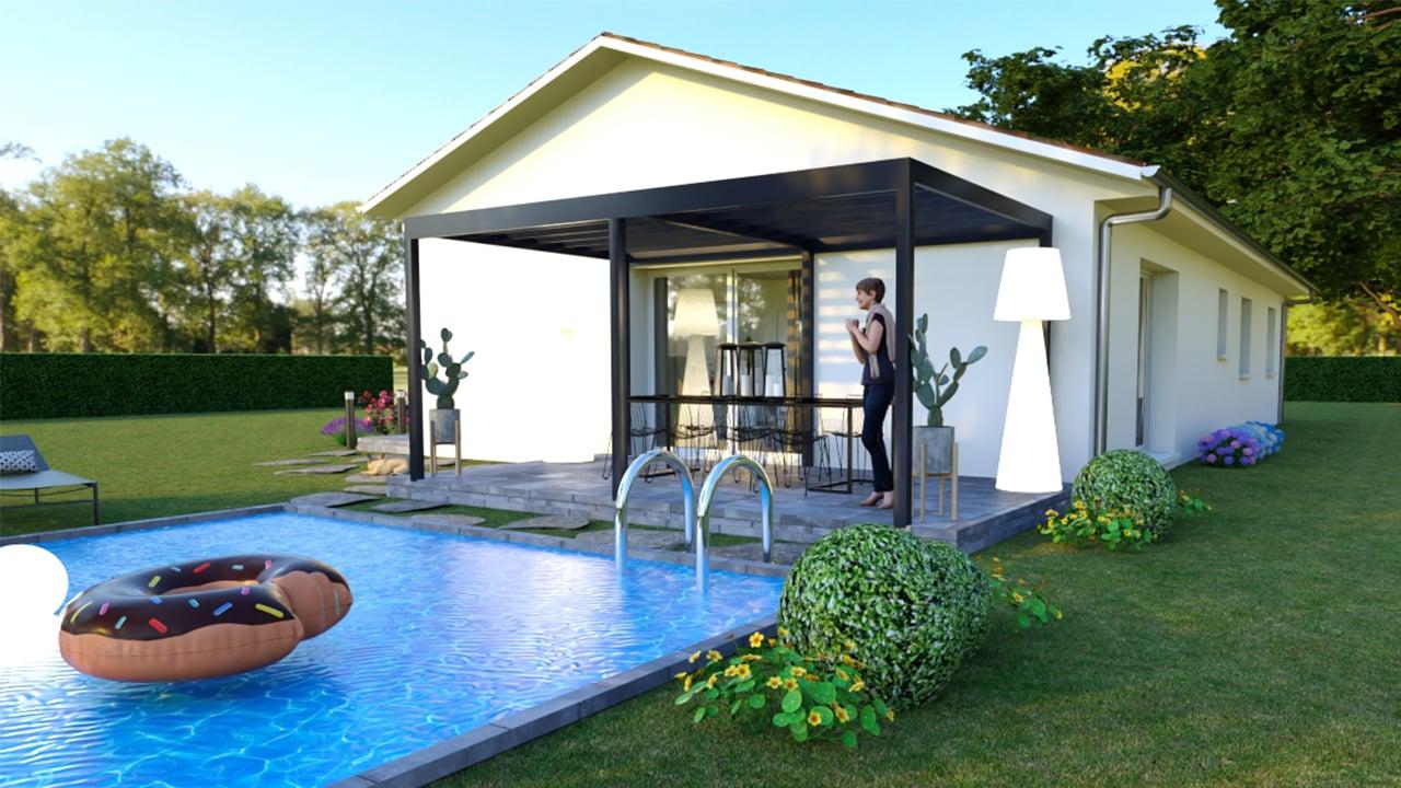 Piscine et terrasse d'une maison dans les Landes