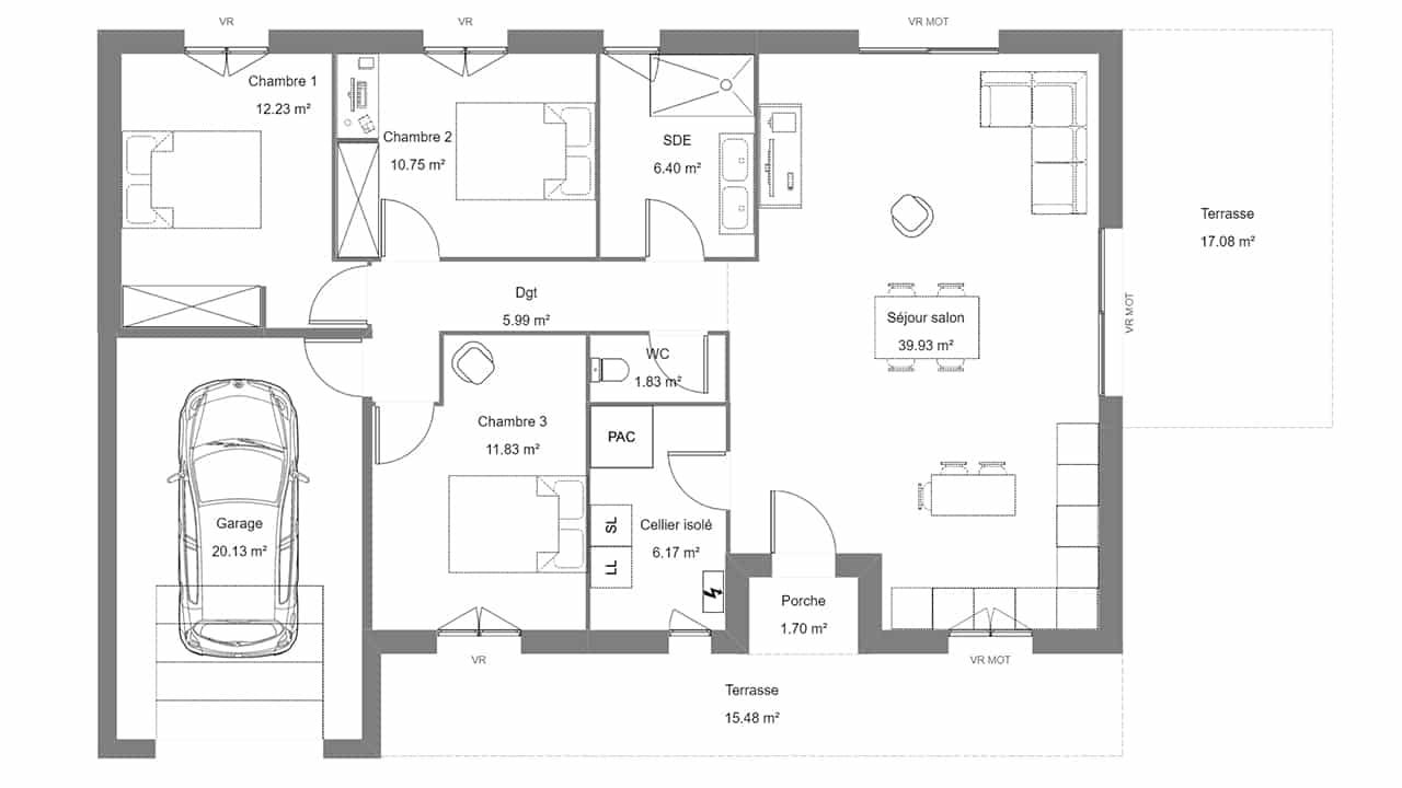 Plan d'une maison avec 3 chambres et un garage