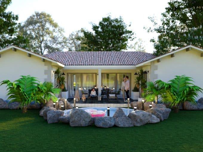 Maison moderne en H avec terrasse couverte et piscine