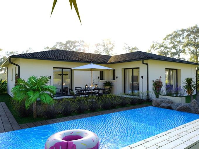 Maison moderne avec piscine devant terrasse