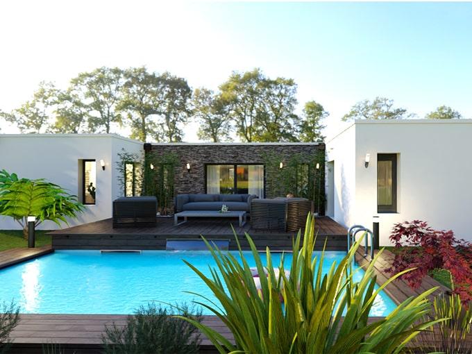 Maison contemporaine avec toit plat et piscine