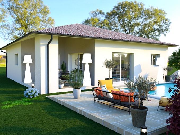 Terrasse maison moderne avec piscine