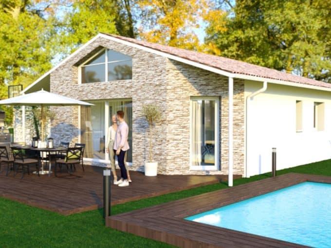 Maison moderne avec parement pierre et piscine sur terrasse bois