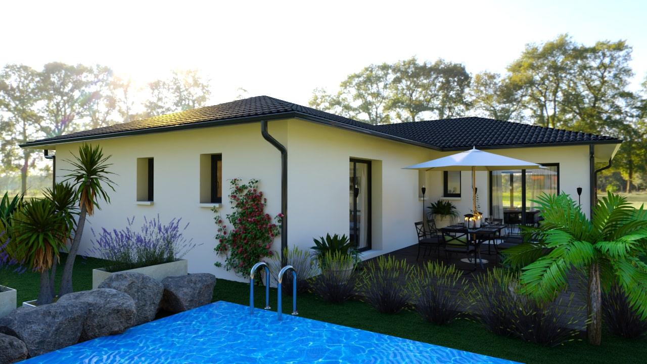 Terrasse d'une maison moderne avec piscine qui fait le tour de la maison
