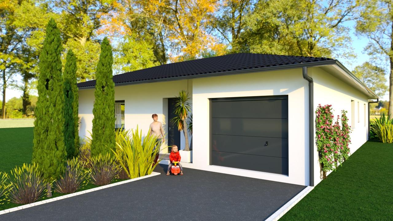 Entrée d'une maison moderne avec garage décroché