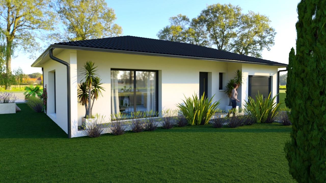 Maison moderne avec grande baie-vitrée et tuiles noires