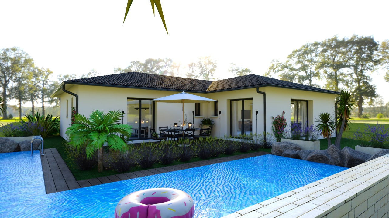 Maison contemporaine avec piscine et terrasse