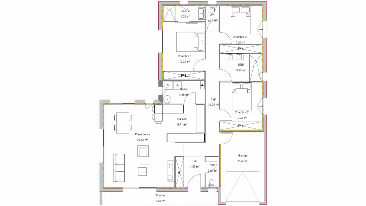 Plan d'une maison deux chambres avec bureau et garage