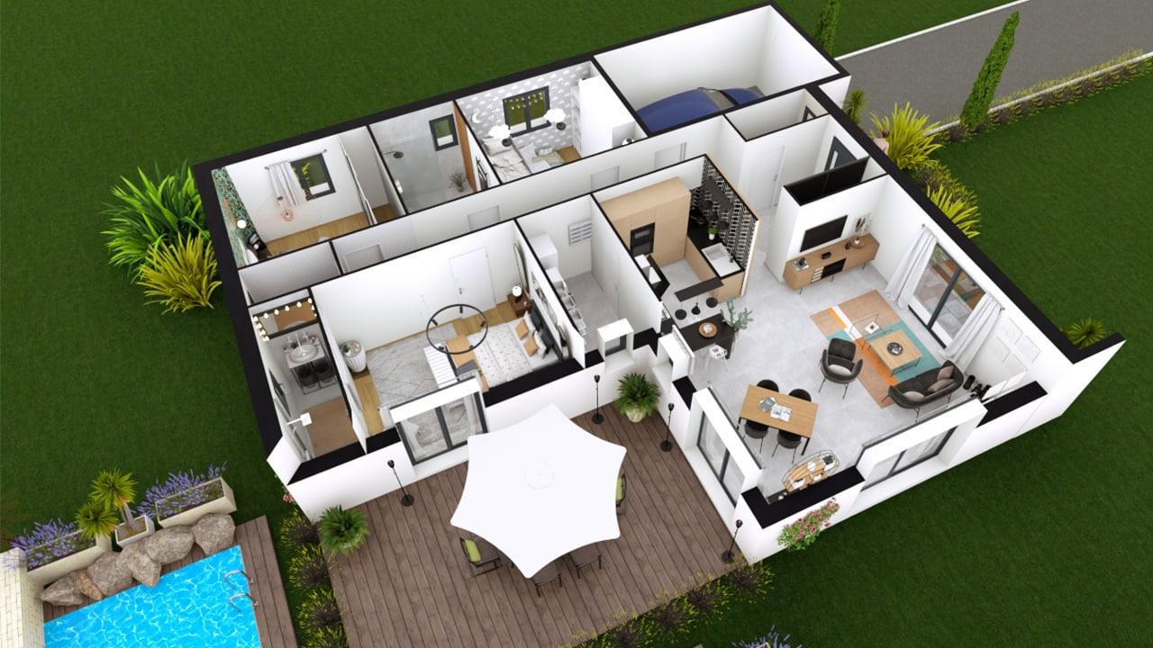 Plan de maison avec 2 chambres et un bureau