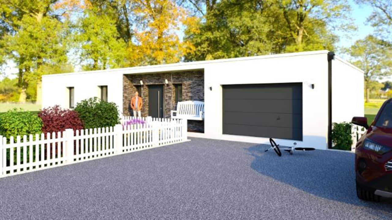 Entrée d'une maison contemporaine avec toit plat et garage intégré