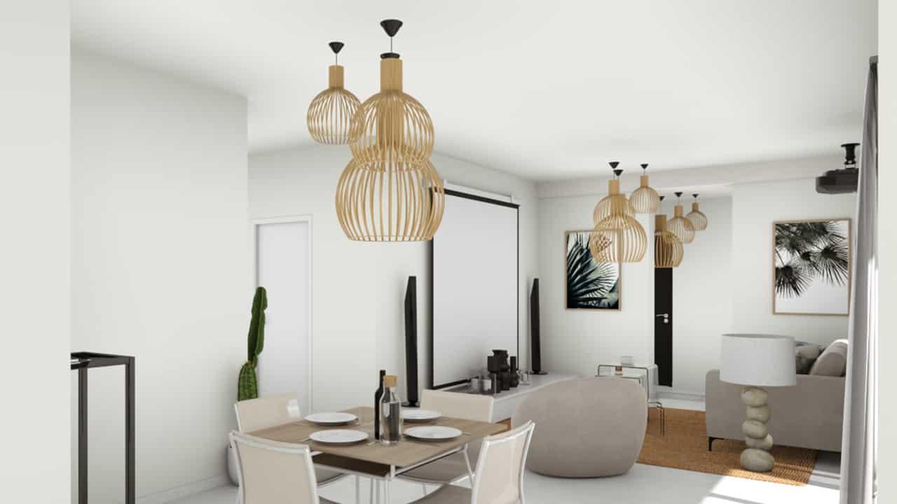Salon et salle à manger avec table