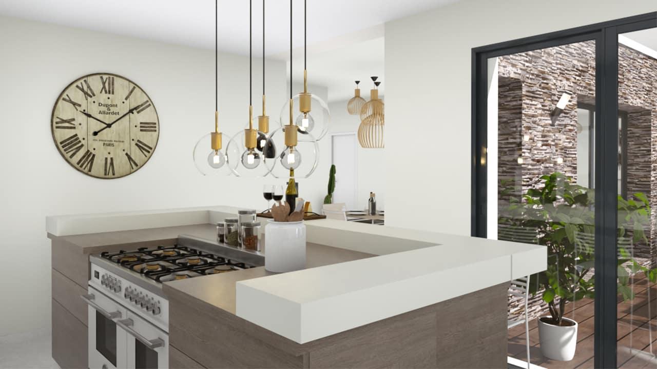 Arrière d'une cuisine moderne avec ilot pour cuisiner