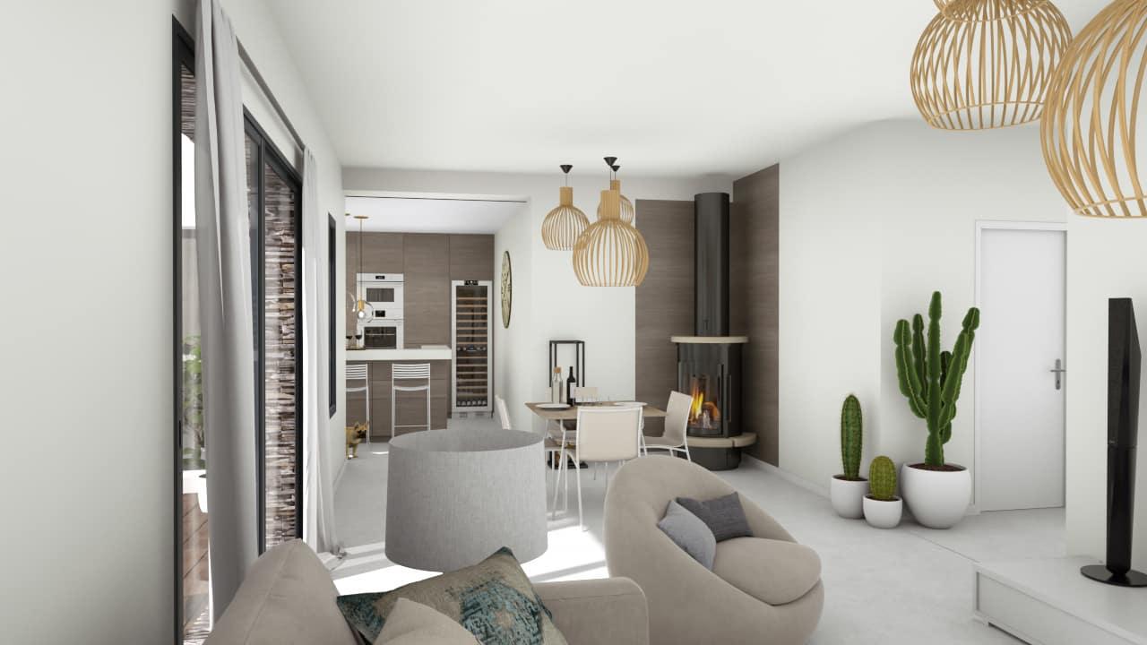 Entrée d'une maison moderne avec salon ouvert