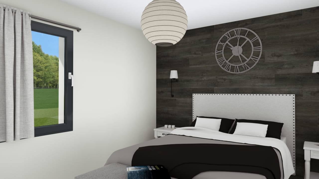 Chambre adulte avec lit et horloge