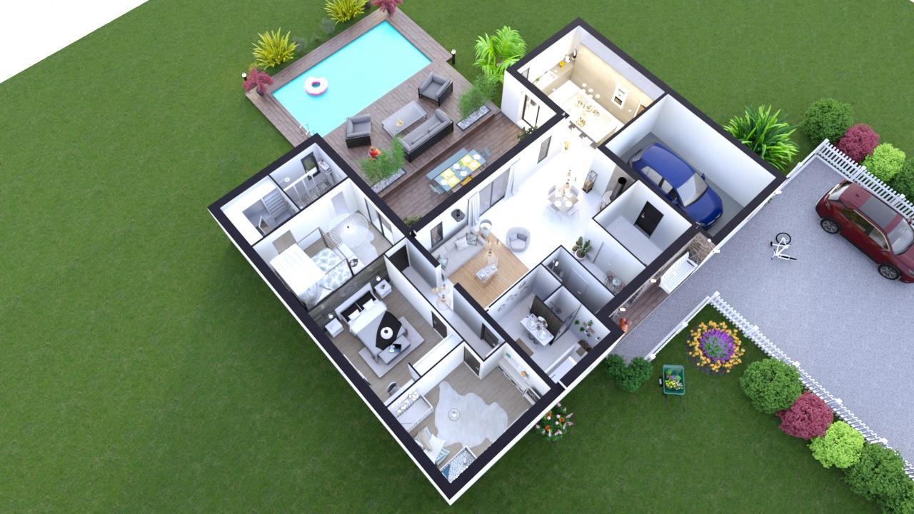 Plan axonométrique maison 3 chambres