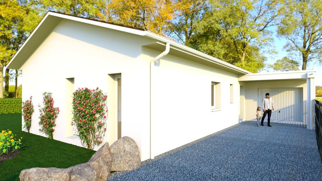 Maison de plain pied avec garage toit plat