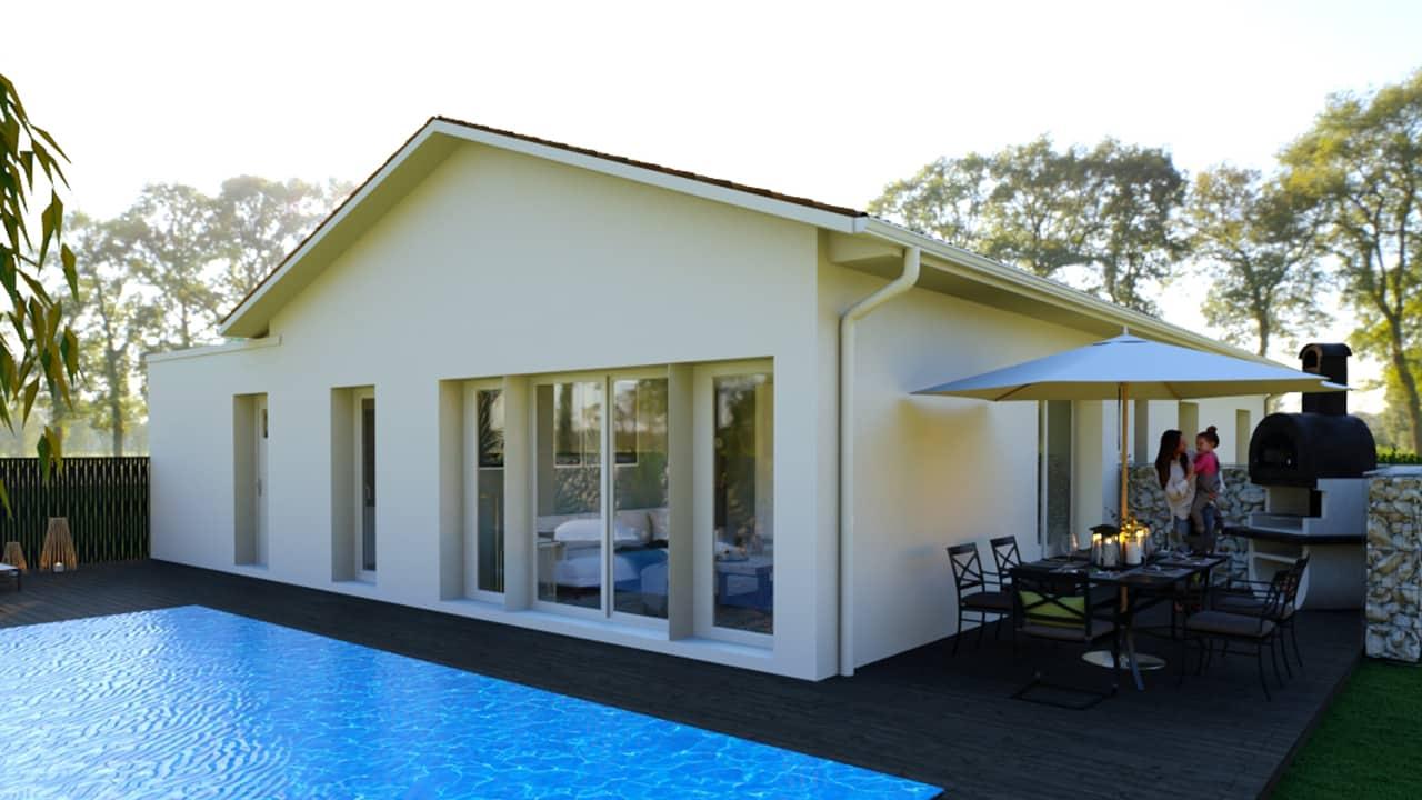 Piscine moderne avec terrasse bois et piscine