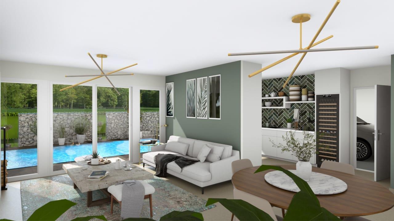 Grand salon lumineux avec baies-vitrées devant piscine