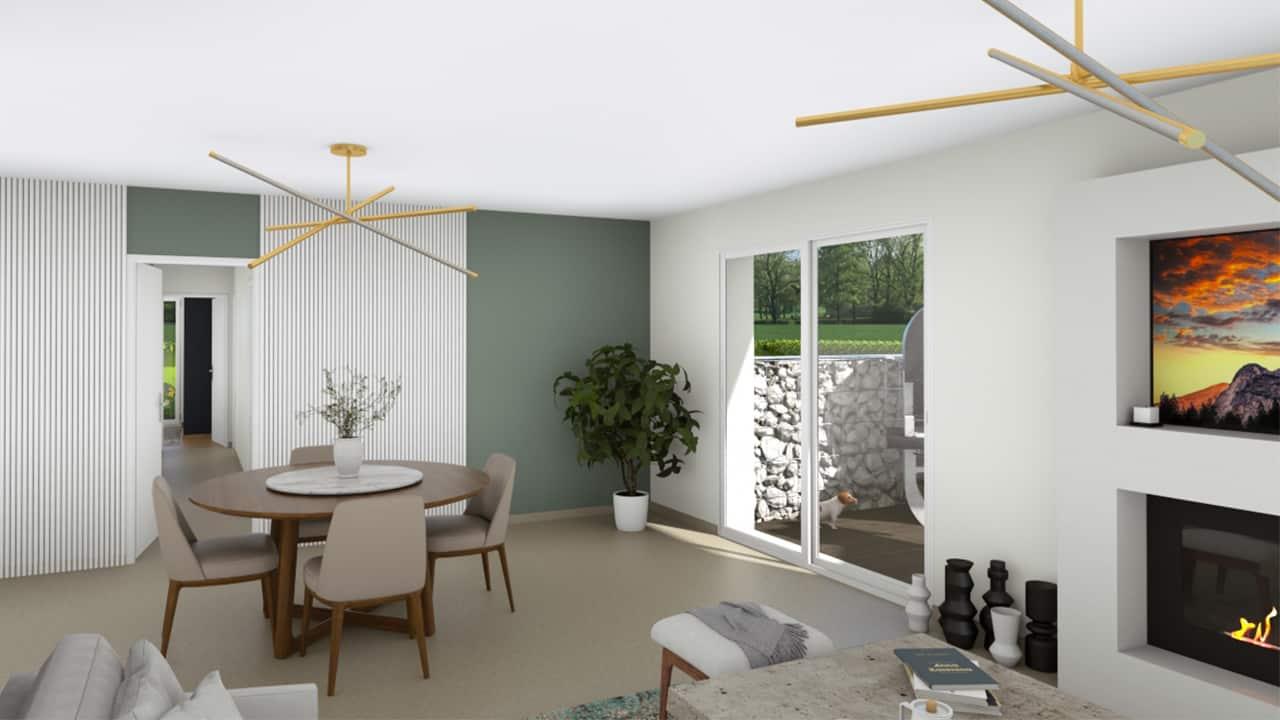 Salon-salle à manger lumineux avec plusieurs baies-vitrées