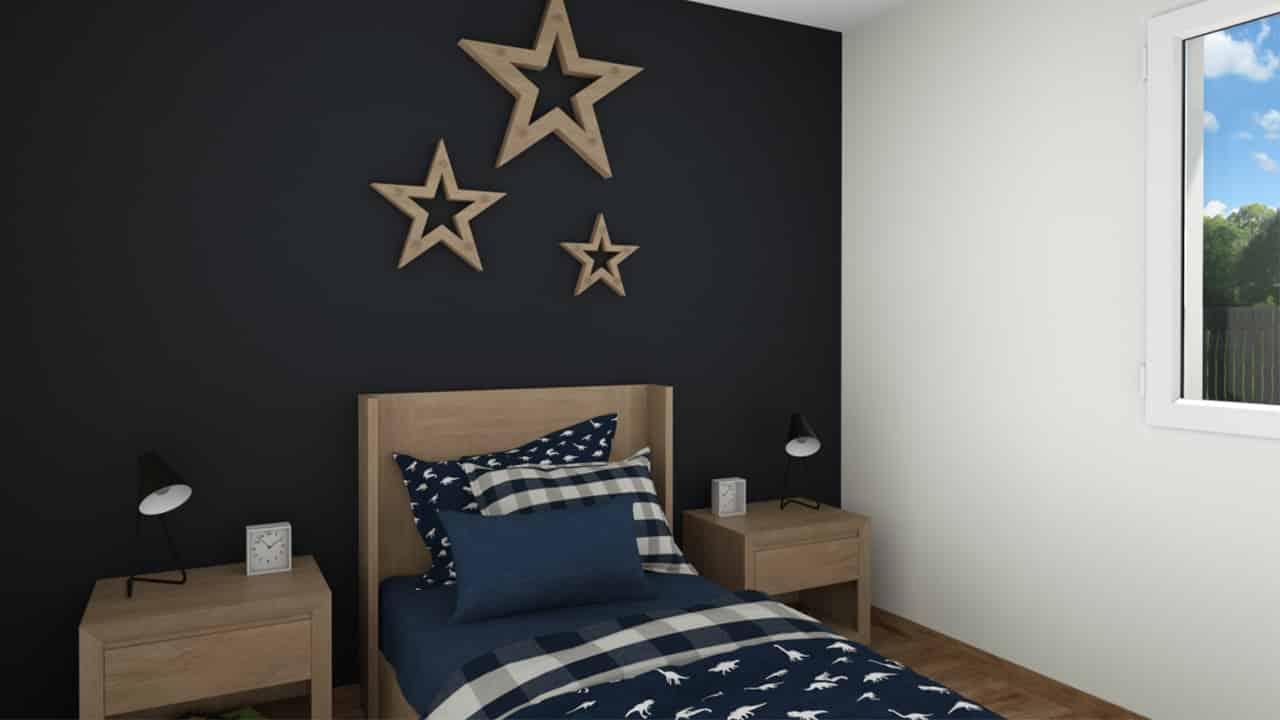 Chambre adolescent avec décoration étoiles