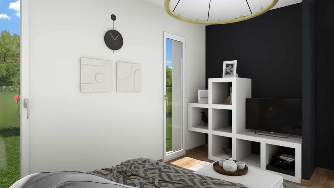 Chambre parents moderne avec porte fenêtre
