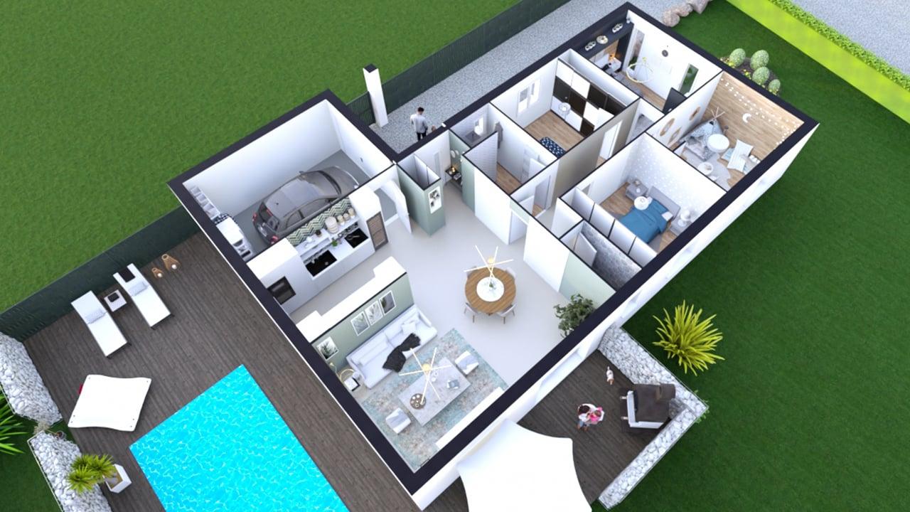 Plan d'une maison de plain pied avec 4 chambres et un garage