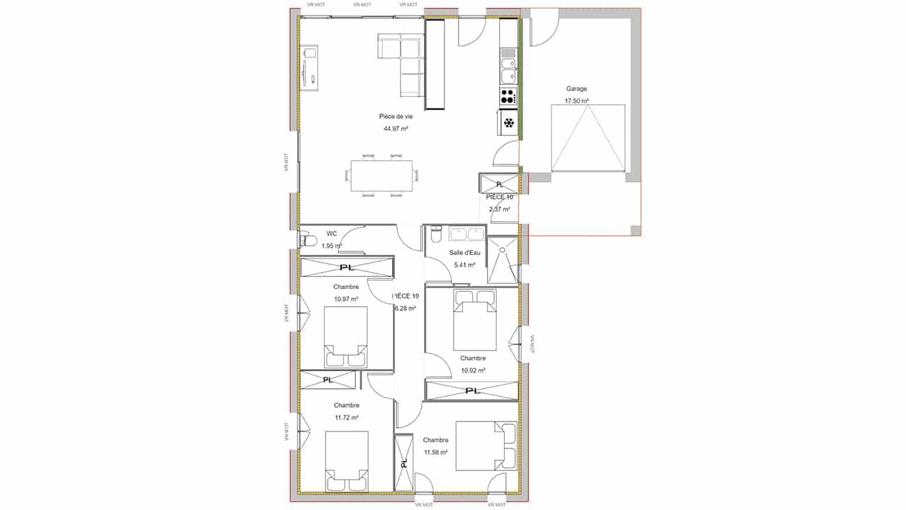 Plan maison 4 chambres avec garage