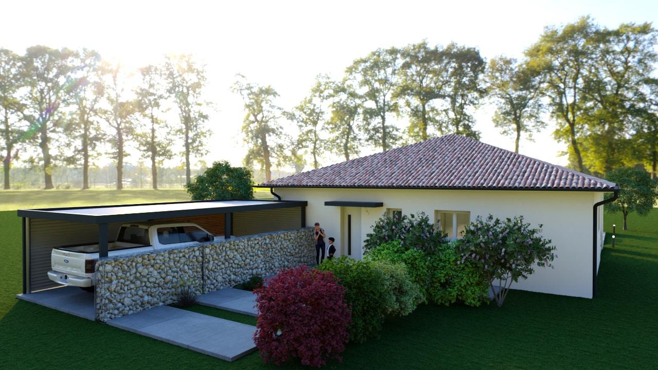 Maison moderne avec carport en pierres
