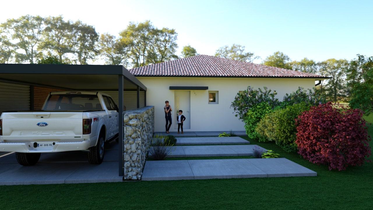 Entrée d'une maison avec carport en pierre