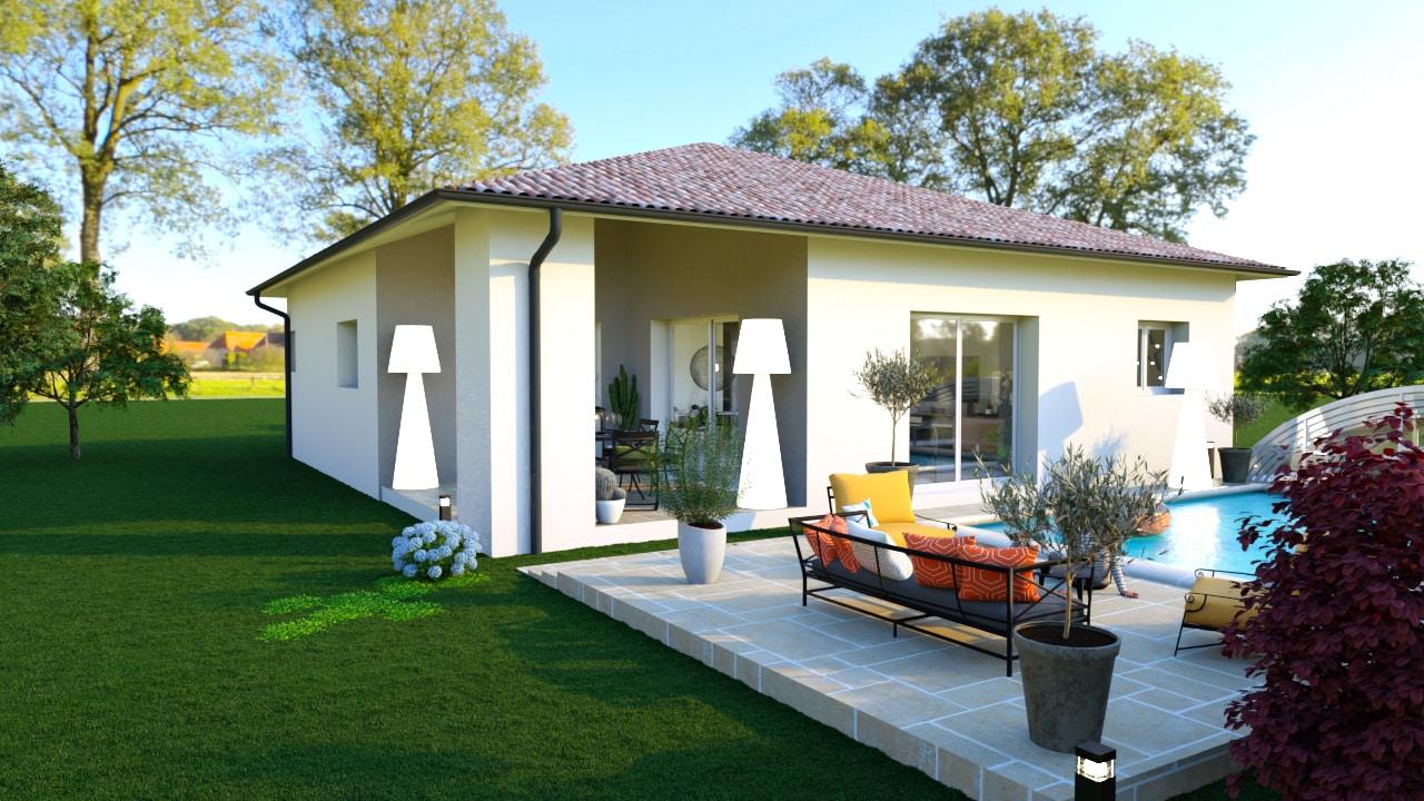 Terrasse couverte d'une maison moderne avec une piscine