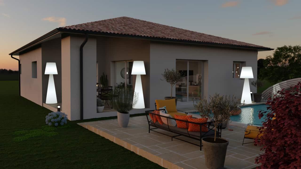Maison de nuit avec terrasse et piscine