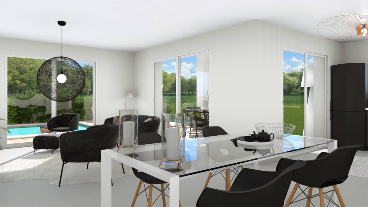 Salon d'une maison moderne avec baies-vitrées et lustre