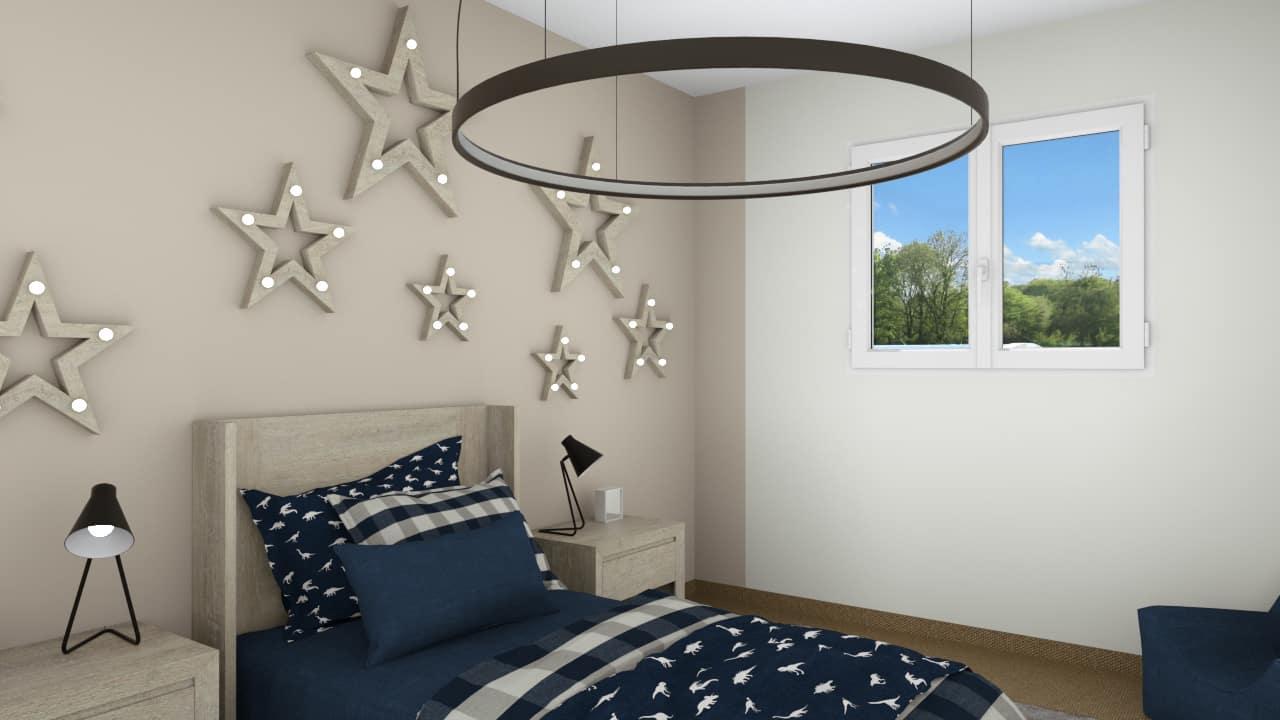 Chambre enfants avec décoration étoiles au mur