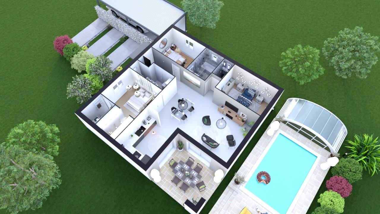 Plan maison 3 chambres avec piscine et carport