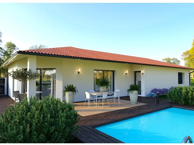 Maison moderne avec terrasse bois et piscine