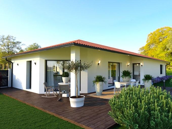 Maison moderne avec pan coupé et terrasse couverte