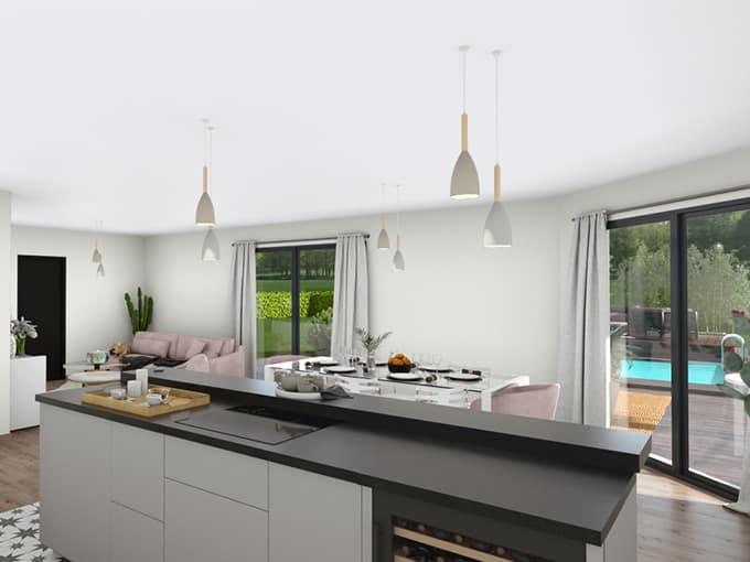 Salon lumineux avec ilot central d'une cuisine