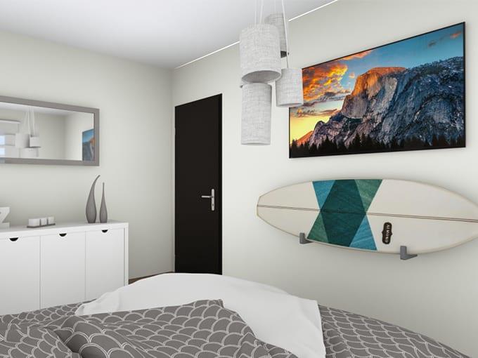 Chambre adolescent avec miroir et surf