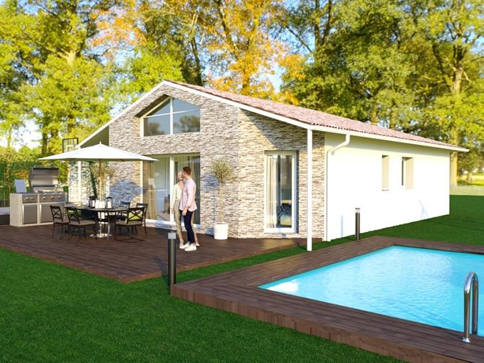 Maison moderne avec parement pierre et piscine
