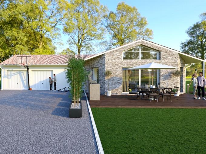 Maison moderne avec double garage et allée gravillonée