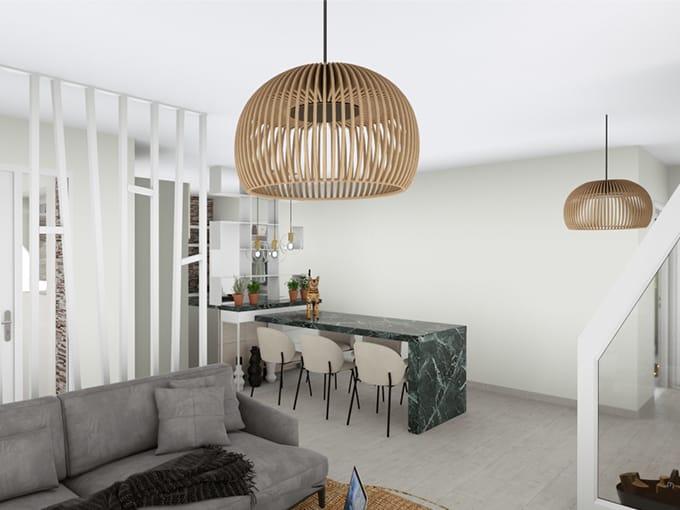 Salon avec canapé et salle à manger