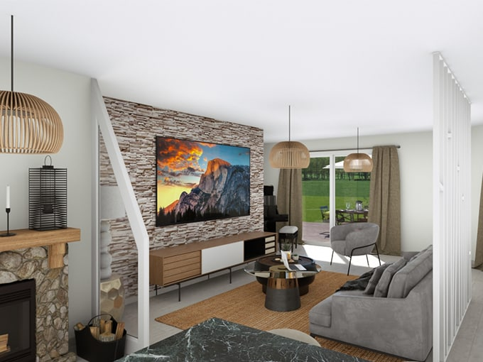 Coin TV avec canapé et cheminée devant baie vitrée