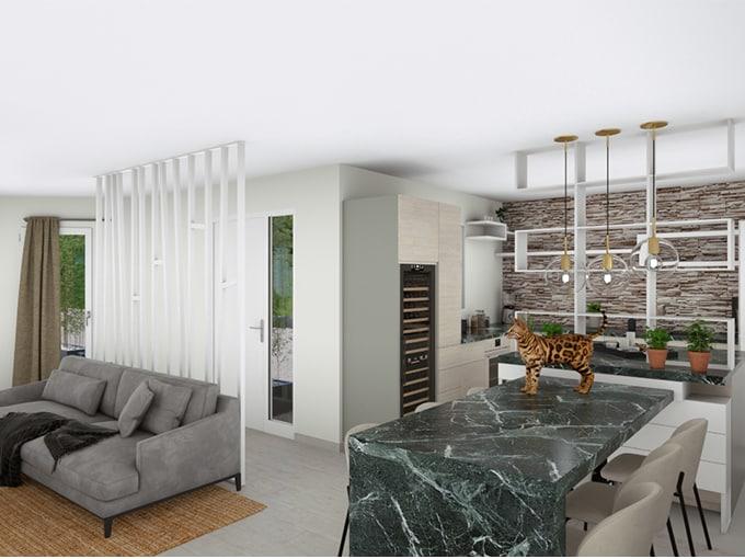 Cuisine moderne ouverte sur salon avec canapé et claustra
