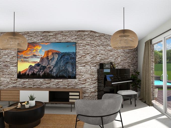 Salon lumineux avec baie vitrée et coin TV