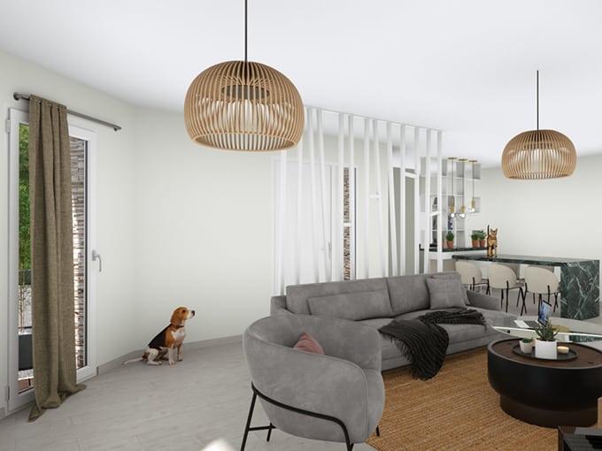 Salon avec baie vitrée sur pan coupé